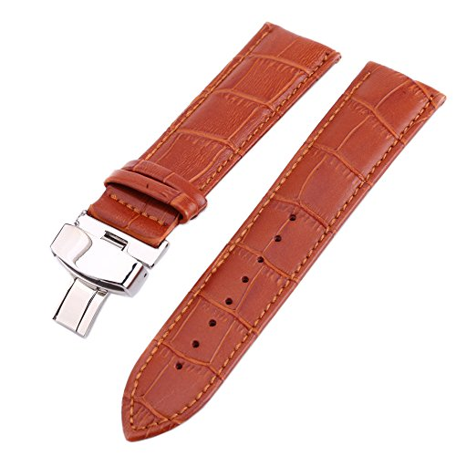 Watchband Replacement - Leather Watch Strap for Men Deployment Push Button Clasp with Buckle Brown 22mm