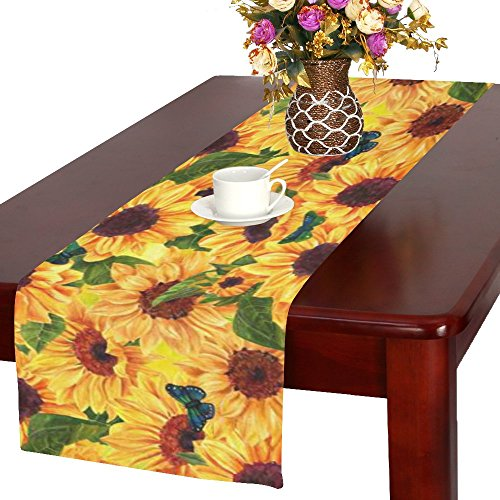 InterestPrint Sunflower Floral Fabric Table Runner Placemat