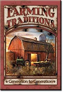 ART/ARTWORK FEATURED ON A MAGNET - Licensed Collectibles, Nostalgic, Vintage, Antique And Original Designs - GREAT TRACTOR / FARM / AGRICULTURE THEME [3542861755] - Farming Traditions [barn scene] [great image and stylish design] [TSFD] by TSBD