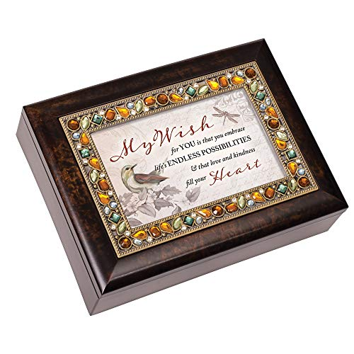 (Cottage Garden Wish for You Embrace Love Amber Earth Tone Jeweled Music Box Plays Edelweiss)