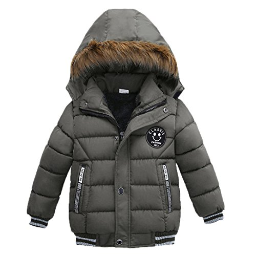 Lowprofile Baby Winter Jacket Kids Boys Girls Fashion Thick Coat Padded Coat Hoodie Jacket (2-5T) (90 (2T), Gray)