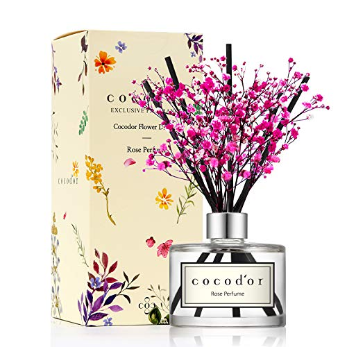 Cocod'or Preserved Real Flower Diffuser/Rose Perfume/6.7oz/Diffuser Oil & Sticks Set/Fragrance for Home Office Aromatherapy and Gifts