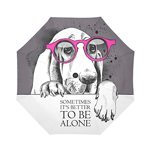 InterestPrint Fashion Animal Dog Windproof Auto Open and Close Folding Umbrella, the Basset Hound Wearing Glasses Lightweight Outdoor Travel Sun and Rain Umbrella UV Protection