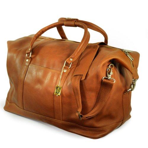 Große Reisetasche / Weekender aus Nappa-Leder, für Damen und Herren, Cognac-Braun, Jahn-Tasche 697
