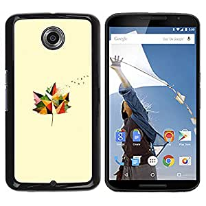 MOBMART Carcasa Funda Case Cover Armor Shell PARA NEXUS 6 / X / Moto X Pro - The Single Leaf Of Colored Patterns