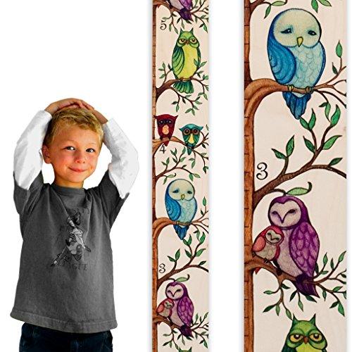 Growth Chart Art | Owl Growth Chart Ruler | Wood Height Ruler for Kids [Boys + Girls] | Kids Growth Chart Wood | Measuring Kids Height Wall Décor