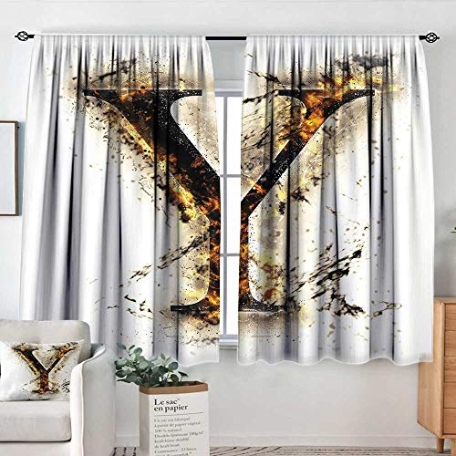 """Elliot Dorothy Window Blackout Curtains Letter Y,Capital Y in Flames Burning Grunge Gothic Style Conceptual Model of Alphabet,Tan Black Orange,Rod Pocket Curtain Panels for Bedroom & Kitchen 63""""x72"""""""