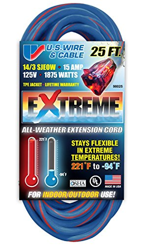 US Wire 98025 14/3 25-Foot SJEOW TPE Cold Weather Extension Cord Blue with Lighted Plug - Temp Extension Cable