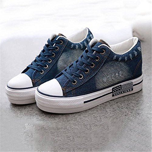 NGRDX&G Verano Nuevo Lienzo De Señoras De Moda Mujer Zapatillas Zapatos Con Plataforma Casual Cómoda Lace-Up Ocio Calzado Femenino Ybt994 DARK BLUE