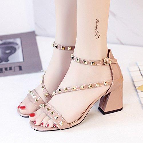 RUGAI-UE Sandalias de Verano Mujer Zapatos Zapatos High-Heeled lado vacío Naked Pink