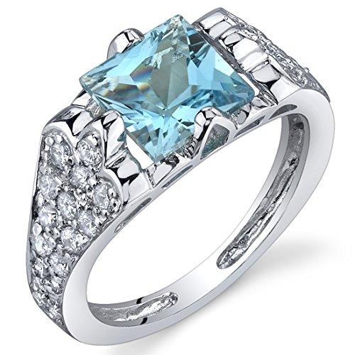 Elegant Opulence 1.75 Carats Swiss Blue Topaz Ring in Sterling Silver Rhodium Nickel Finish Size 9