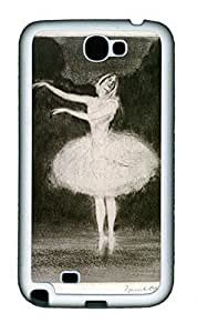 Ballet Dance Painting Theme Case for Samsung Galaxy Note 2 N7100 TPU Material White