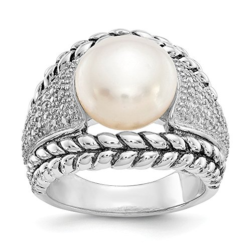 Sterling Silver Pearl Ring Band Solid Antiqued 3 mm FW Cultured Pearl Diamond Ring ()