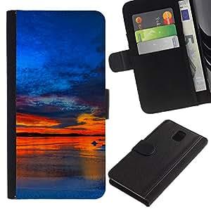 JackGot ( Tramonto Beautiful Nature 37 ) Samsung Galaxy Note 3 III la tarjeta de Crédito Slots PU Funda de cuero Monedero caso cubierta de piel