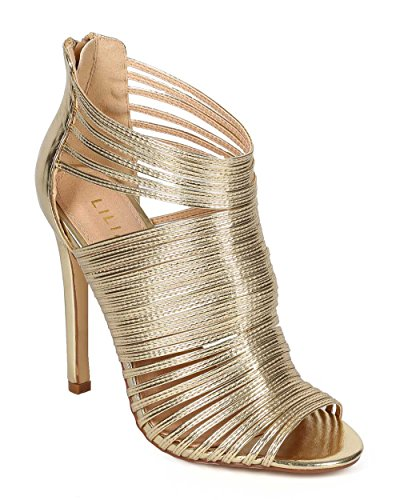 Metallic Peep Toe (Liliana Nikia-9 Women Metallic Caged Peep Toe Cutout Stiletto Sandal Gold,Gold,8.5)