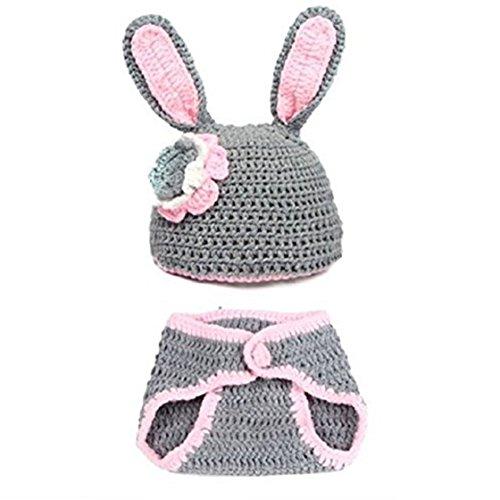 Bebe Disfraz Fotografia Prop - SODIAL(R)Bebe Nina y nino Recien Nacido 0-9 Meses lindo conejo hecho a mano punto de ganchillo Beanie Sombreros ...