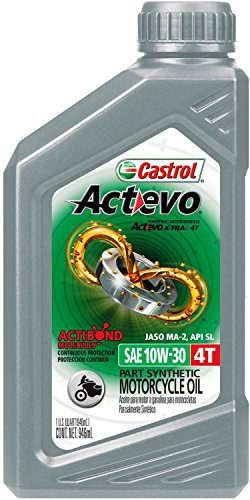 Castrol 06119 ACTEVO 4T 10W-30 Part Synthetic Motorcycle Oil, 1 Quart Bottle, 6 Pack