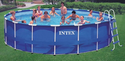 amazoncom intex 18 x 48 metal frame swimming pool set with 1500 gfci pump 28251eh patio lawn garden