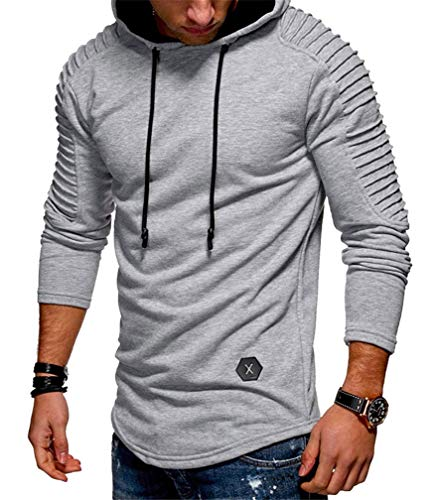 Lealac Mens Casual Pullover Hoodie Long Sleeve t-Shirt Sweater Slim fit Sweatshirt Jersey L181-Hoodie Light Gray ()