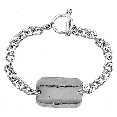 Sterling Silver Medical Emergency Bracelet Rectangular Plaque Toggle Clasp, 3/4 inch wide, 8 inch