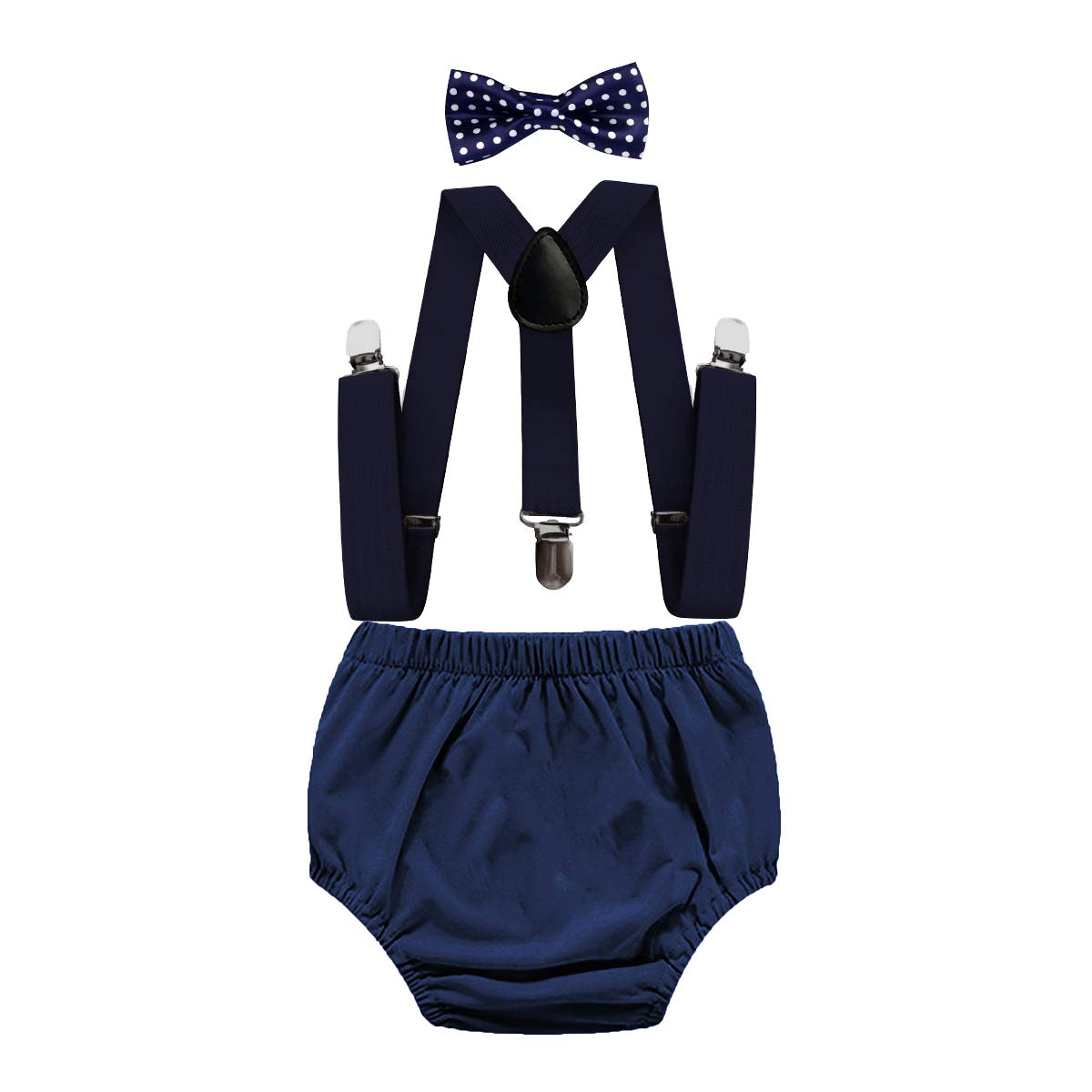 MYRISAM Infant Baby Boys 1st 2nd Birthday Cake Smash Outfits Bloomers Suspender Bow Tie for Photo Props Baby Shower Costume