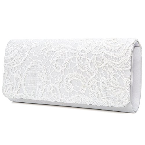Lace Clutch Bags Women's EULovelyPrice Purse And White Floral Party Handbag Bridal Fashion Evening Wedding For Elegant q4wpgwt