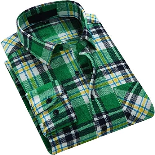 DOKKIA Men's Dress Buffalo Plaid Checkered Fitted Long Sleeve Flannel Shirts (Green Yellow White, Large) (Plaid Flannel Western Shirt)