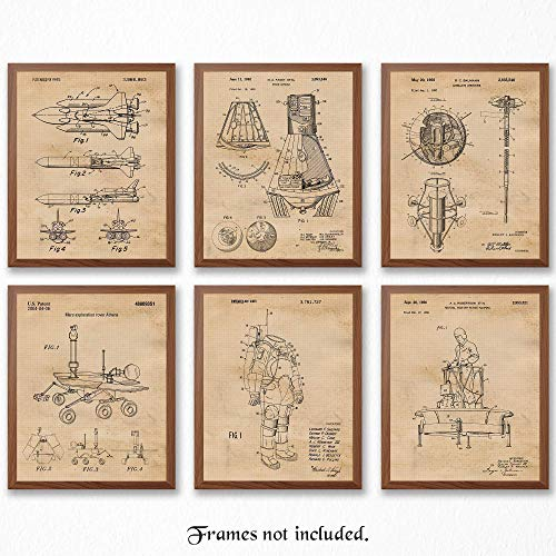 Original Space Patent Art Poster Prints, Set of 6 (8x10) Unframed Photos, Great Wall Art Decor Gifts Under 20 for Home, Office, Garage, Man Cave, Shop, Student, Teacher, NASA, Aviation, Astronomy Fan (Nasa Art Wall)
