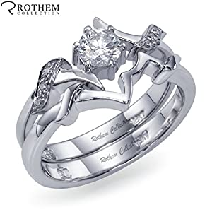 Real 0.47 carat Rothem I VS1 White Gold Twisted Diamond Engagement Ring Wedding Band Matching Set 02245381