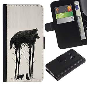 A-type (Trees Abstract Meaning Nature) Colorida Impresión Funda Cuero Monedero Caja Bolsa Cubierta Caja Piel Card Slots Para Samsung Galaxy S3 MINI 8190 (NOT S3)