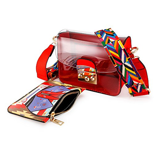 Transparent body Plastic Mini Women Summer PVC Bag Red OCT17 Cross Durable Shoulder YxqEpW
