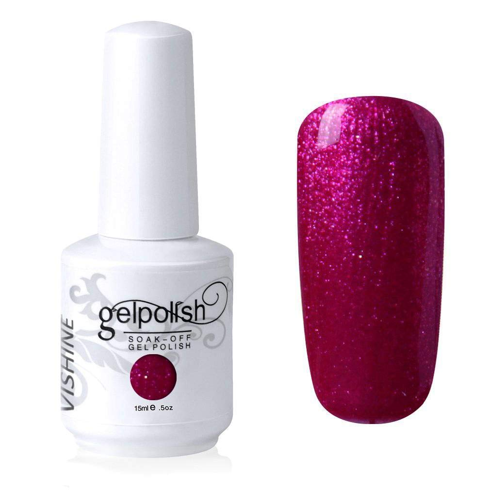 Vishine Gelpolish Long-lasting Gel Nail Polish Soak Off UV LED Manicure Nail Art Pearl Plum Red (1484)