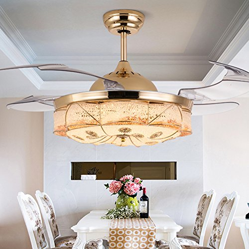 Yue Jia 42 Inch Promoting Natural Ventilation Invisible Fan Modern Luxury Dimmable (Warm/Daylight/Cool White) Chandelier Foldable Ceiling Fans With Lights Ceiling Fan for Room with Remote Control by YUEJIA (Image #2)