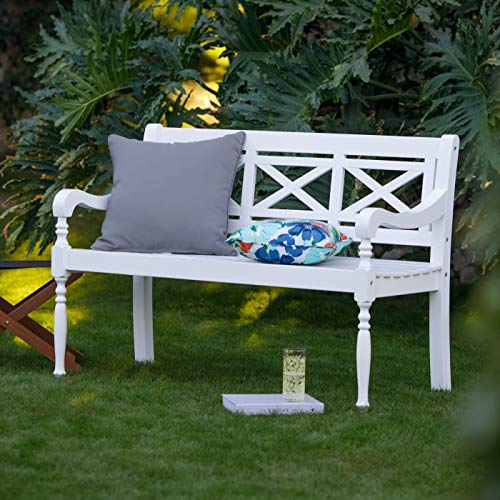 Modern Farmhouse X Back Classic White Wood Garden Bench Outdoor Porch Patio Seating 49.61L x 22.99W x 34.1H Inch