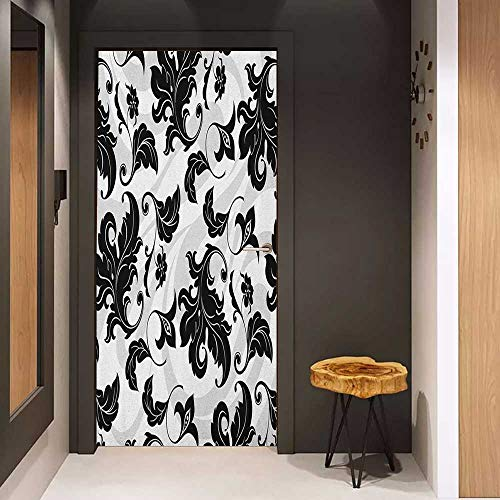 Onefzc Door Sticker Mural Floral Flower Leaves Ivy Plant Swirl Like Image with Abstract Shadow Print WallStickers W23.6 x H78.7 Black White and Pale Grey