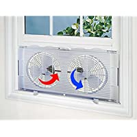 High Velocity 2-in-1 Double Window Energy Efficient Fan Horizontal Vertical Fit