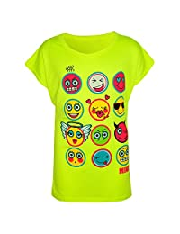 Kids Girls T Shirt Emoji Print Stylish Trendy Fashion Top New Age 7-13 Years