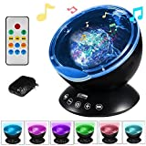 Remote Control Ocean Wave Projector 12 LED &7 Colors Night Light with Built-in Mini Music Player for Living Room and Bedroom (Black)