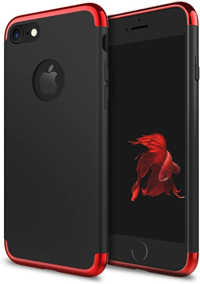 iPhone 7 Case, idutou 3-in-1 Sleek Thin and Slim Fit Hard Shell Cover Case with 3 Detachable Parts for Apple iPhone 7 Only, Chrome RED and Matte Black (4.7 Inches) 2016 (Black/red)