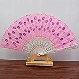 White Pink Spanish Style Dance Wedding Party Lace Silk Folding Hand Held Flower Fan