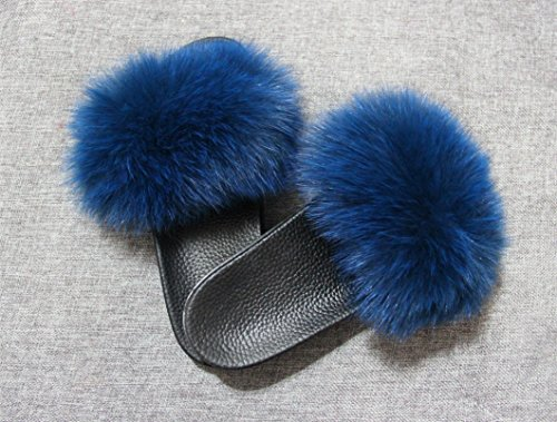 Fur Sandals Slip qmfur Sole Single Slides Black Toe Real Slippers Women Blue Strap On Open 1 Fox pqv7qIU