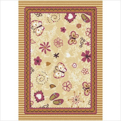 Joy Carpets Kid Essentials Infants & Toddlers Hearts and Flowers Rug, Multicolored, 3'10'' x 5'4''