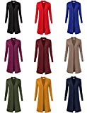 Women's Solid Soft Stretch Longline Long Sleeve Open Front Cardigan