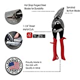 MIDWEST Aviation Snip - Left Cut Offset Tin Cutting Shears with Forged Blade & KUSH'N-POWER Comfort Grips - MWT-6510L