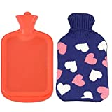AQUAPAPA Large 1/2 Gallon Classic Non Toxic Natural Rubber Hot Water Bottle with Love Hearts Knit Cover, Back Pain Relief, Cold Feet Syndrome, 2 Liters