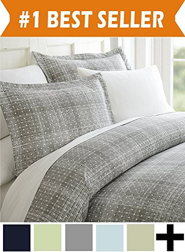 Celine Linen Luxury Silky Soft Coziest 1500 Thread Count Egyptian Quality 4-Piece Bed Sheet Set |Polka Dot Pattern| Wrinkle Free, 100% Hypoallergenic, King, Gray ()