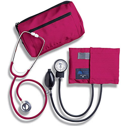 MABIS MatchMates Aneroid Sphygmomanometer and Dual Head Stethoscope Combination Home Blood Pressure Kit with Calibrated Nylon Cuff, Professional Quality, Carrying Case, Magenta