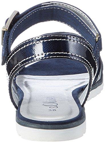 s.Oliver Mädchen 58205 Offene Sandalen mit Keilabsatz Blau (NAVY 805)
