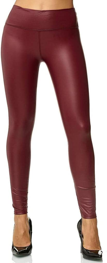 S Yunzee Women Leggings Shiny Faux Leather Full Length Opaque Slim High Waisted Gym Yoga Pants Red Wine