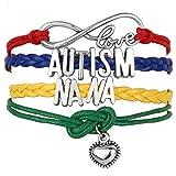 Moonlight Collections Autism Awareness Nana Charm Bracelet Leather Wrist Cuff Love Heart Slide